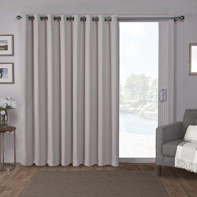 Orren Ellis Campanella Sateen Blackout Solid Grommet Top Wide Patio Curtain Panel Color: Silver