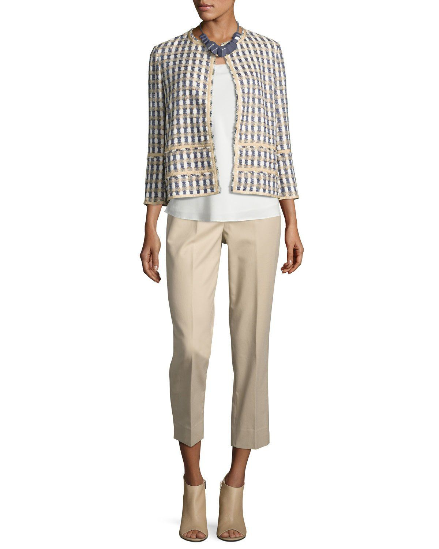 Aisha 3/4-Sleeve Playa Tweed Jacket, Multi
