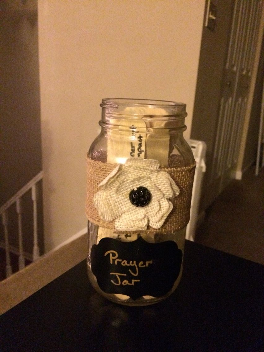 DIY Prayer Jar- jumbo craft sticks (write your prayers), mason jar, burlap ribbon, craft flower, hot glue gun, sticker label. After eating a meal, each person at the table picks 1-2 sticks then prays out loud for that prayer request. Also great to get little kids (or yourself) comfortable with praying out loud.