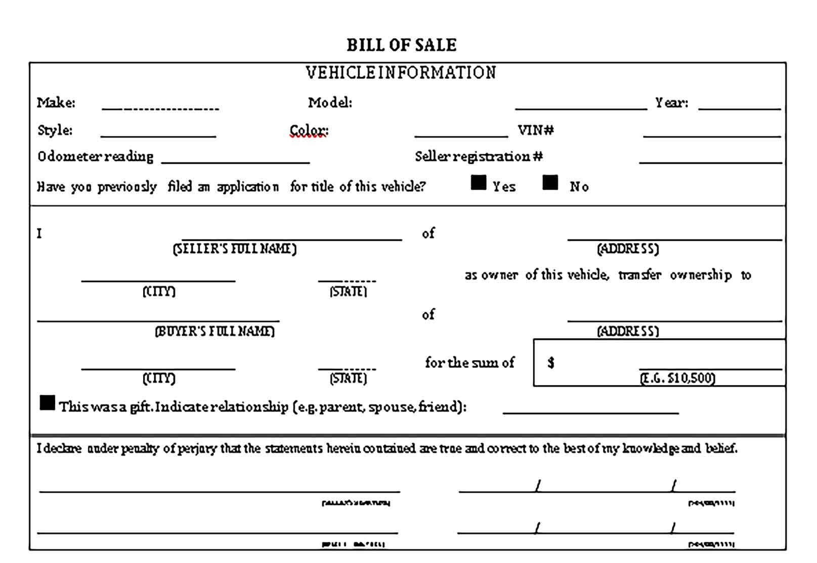Printable Vehicle Bill Of Sale Template Bill Of Sale Template Templates Financial Documents