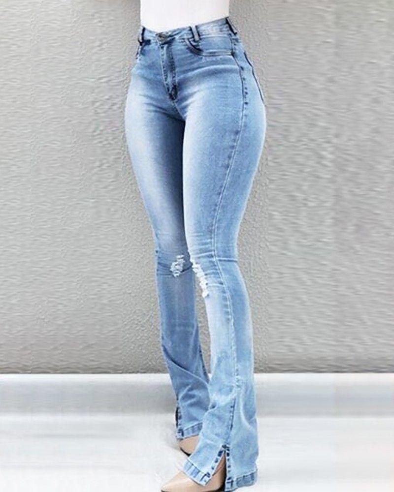 33ff340f1c4e Jeans de cintura alta con rotos de campana (S/M/L/XL/2XL/3XL) $30.99 ...