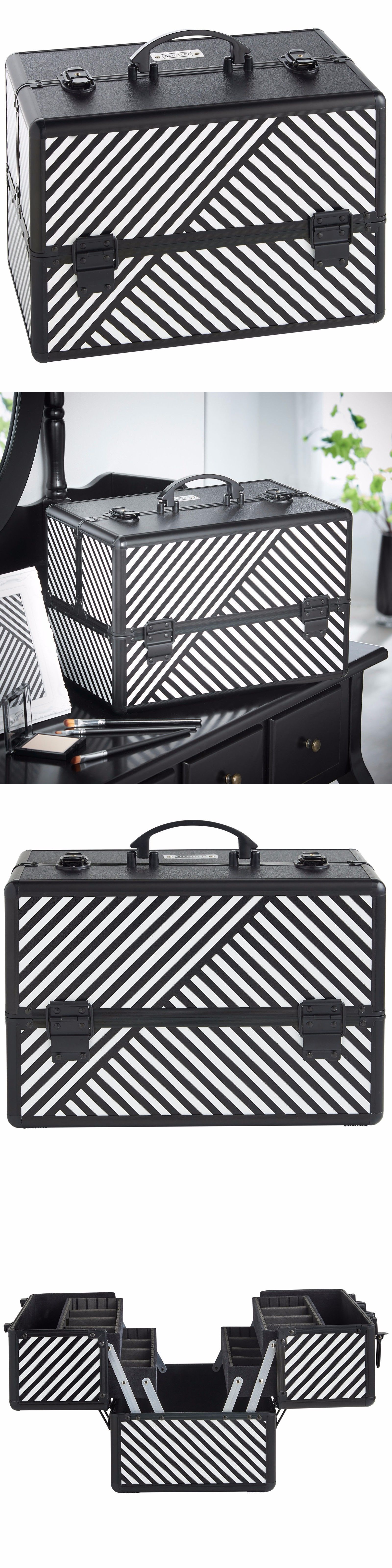 Makeup Bags and Cases Beautify Large Black 14 Train Case Cosmetic Makeup Organizer Storage Box & Makeup Bags and Cases: Beautify Large Black 14 Train Case Cosmetic ...