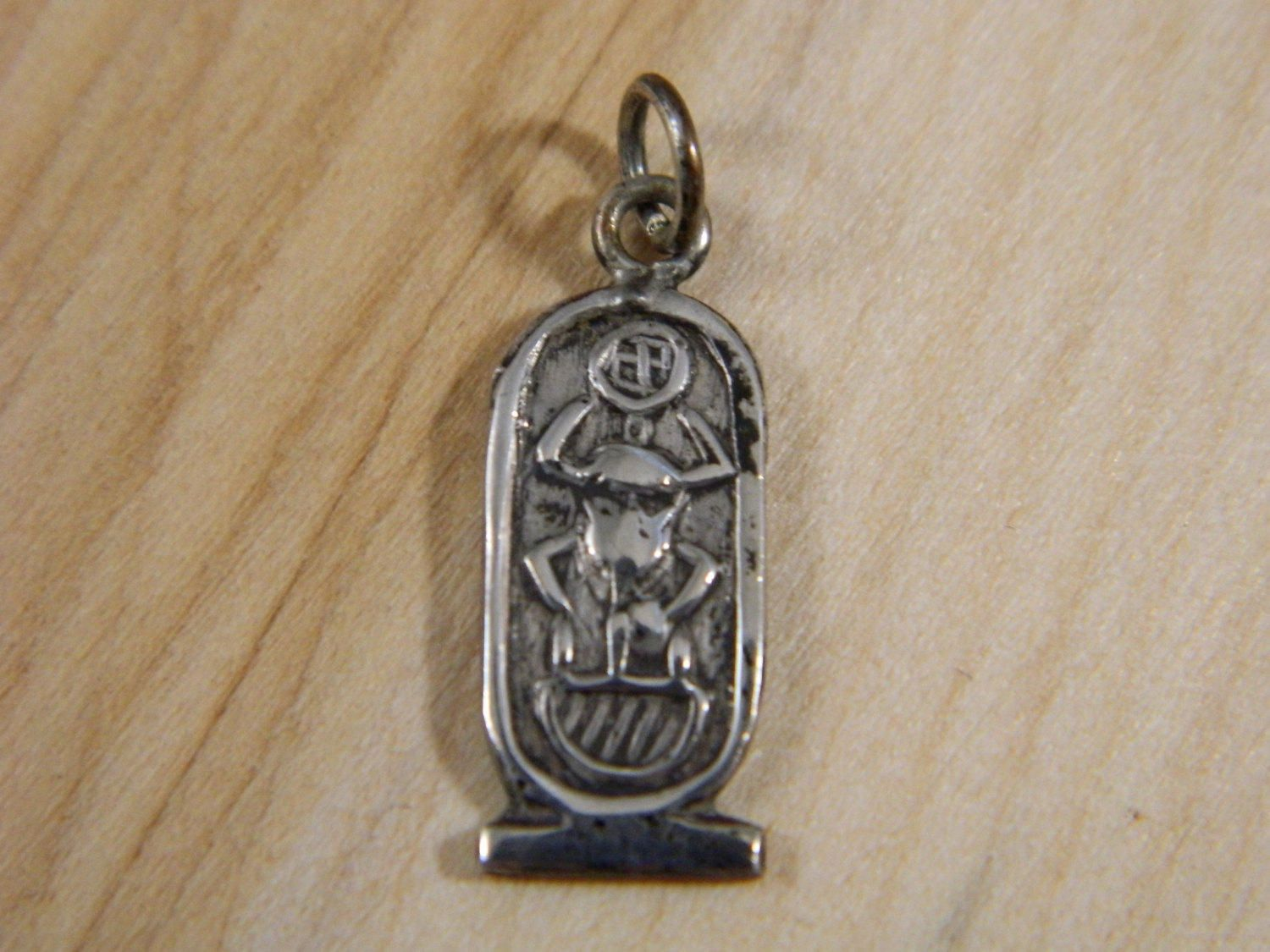 Sterling silver egyptian pendant vintage egypt scarab beetle sterling silver egyptian pendant vintage egypt scarab beetle small pendant silver cartouche pendant necklace aloadofball Image collections