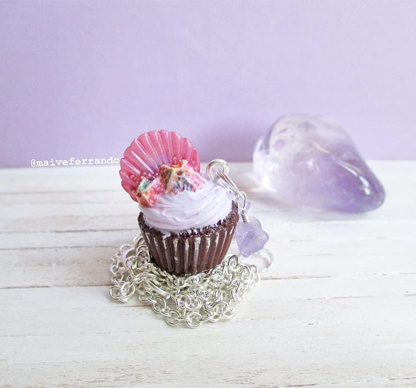 Mermaid Scales & Barnacles Cupcake Necklace