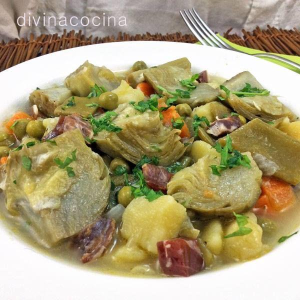 menestra de alcachofas con jamn divina cocina - Divina Cocina