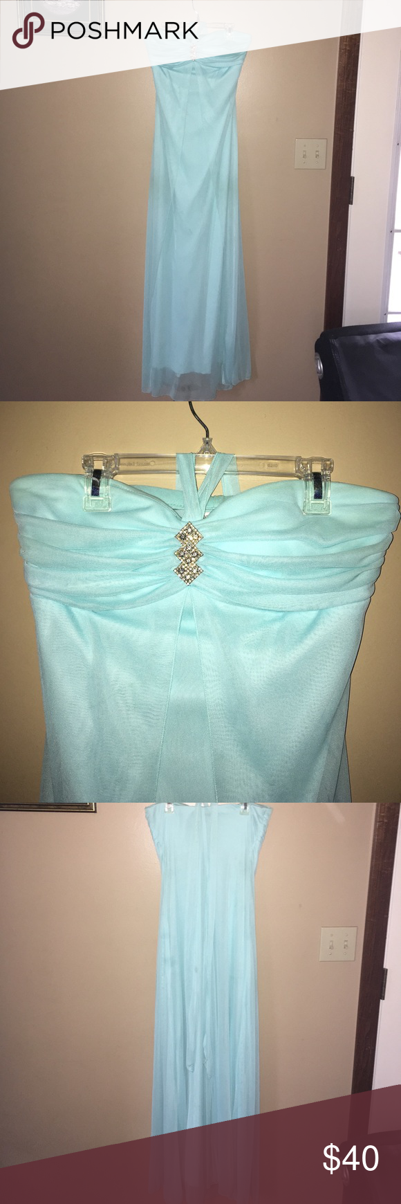 Prom dress light blue floor length prom dress worn once from deb