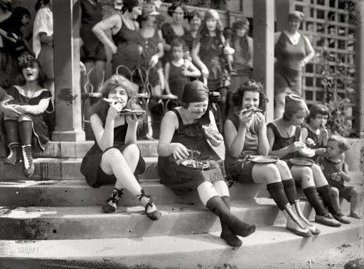 Early suffragettes often donned a bathing suit and ate pizza in groups to annoy men