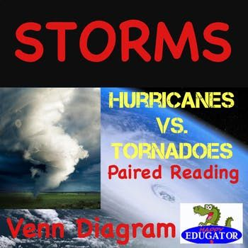 weather paired reading hurricanes vs tornadoes with storms venn diagram