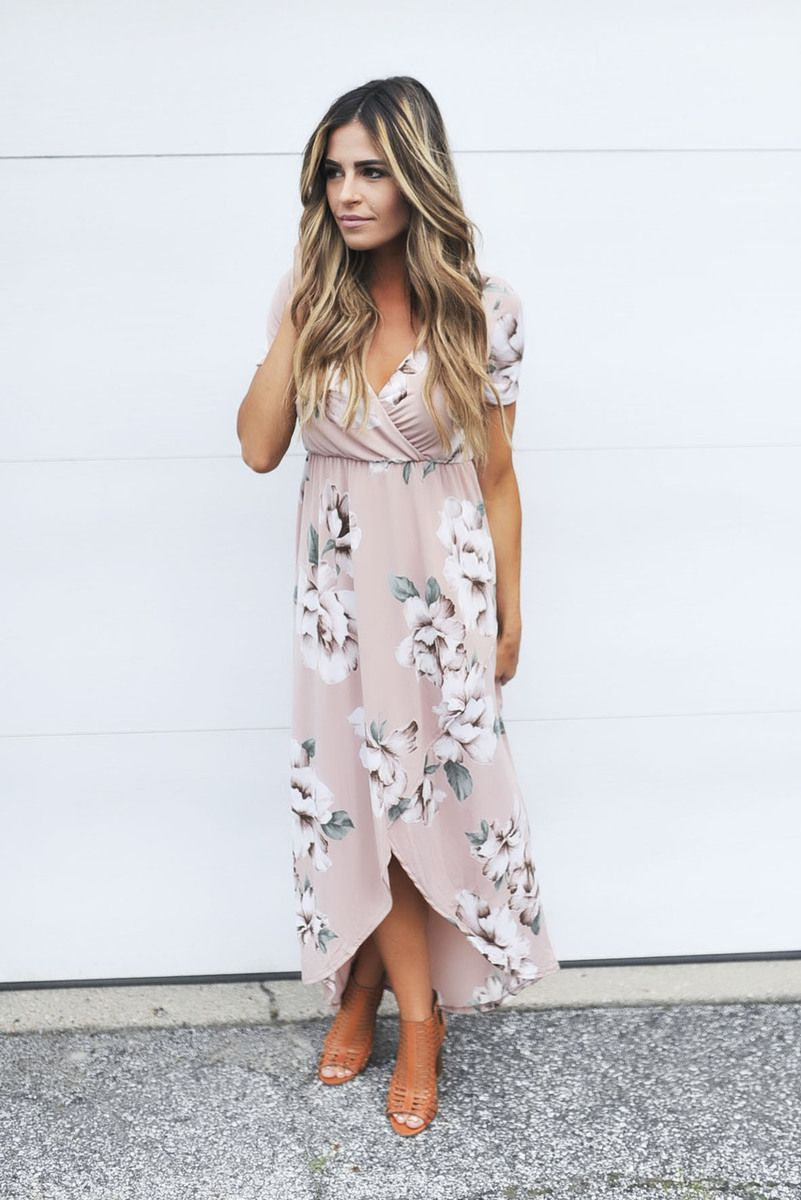 Blush Floral High-Low Maxi Dress - Dottie Couture Boutique ...