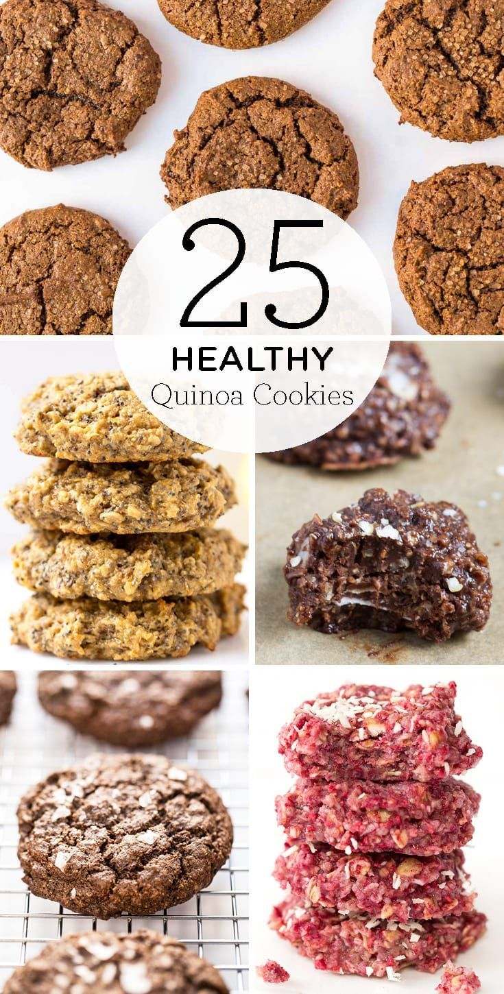 25 of the BEST Healthy Quinoa Cookie recipes! We've got all kinds of easy recipes including no-bake, chocolate, breakfast cookies, banana, peanut butter, you name it! And they're all gluten-free, and mostly vegan! #quinoacookie #quinoacookierecipe #healthycookie #vegancookie #Easy Recipes vegan 25 Ways to Use Quinoa in Your Cookies - Simply Quinoa