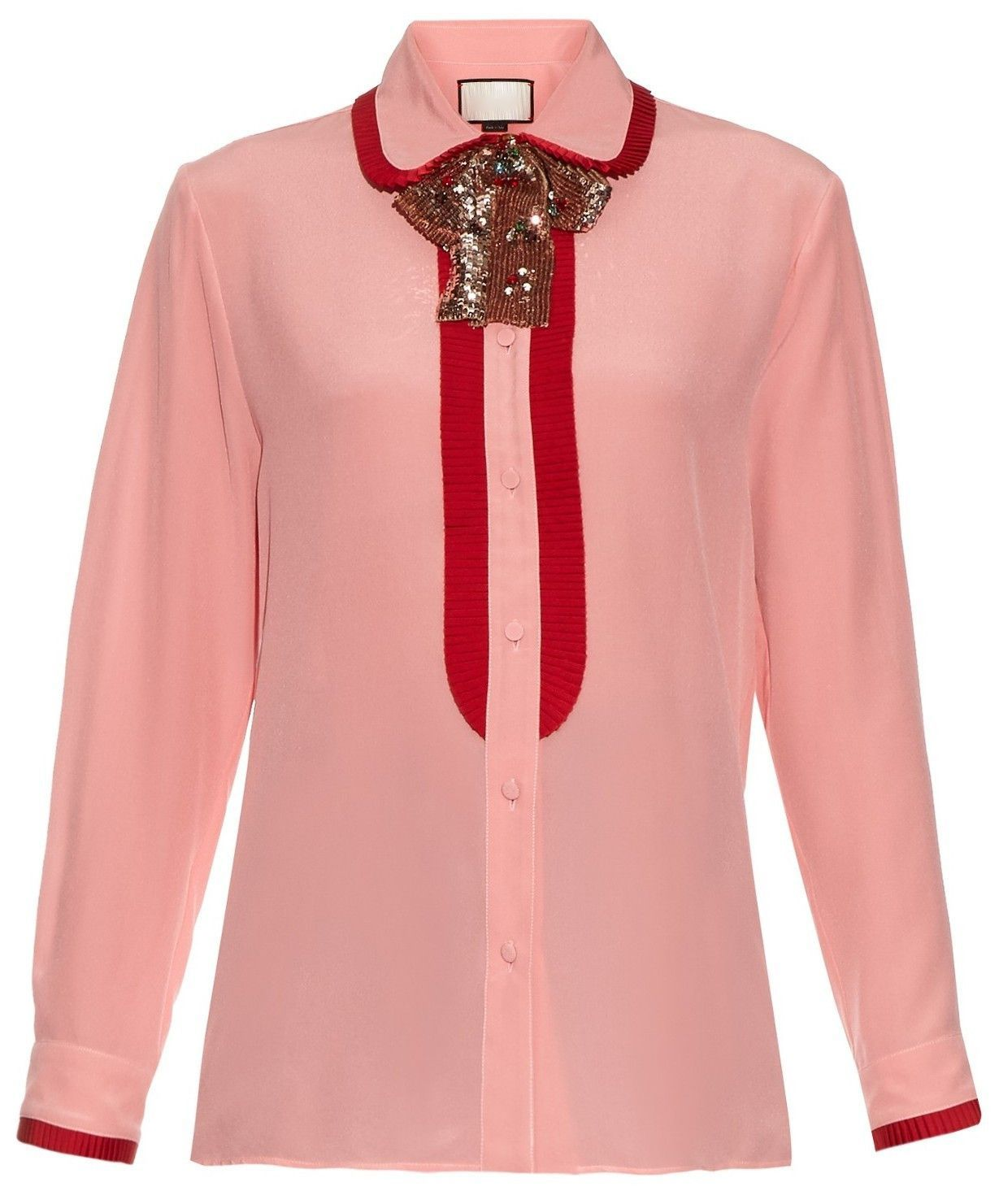 60fe69f14e5 Sequin Neck-Bow Silk Ruffle Oxford Shirt-Pink in 2019 | Pop ...