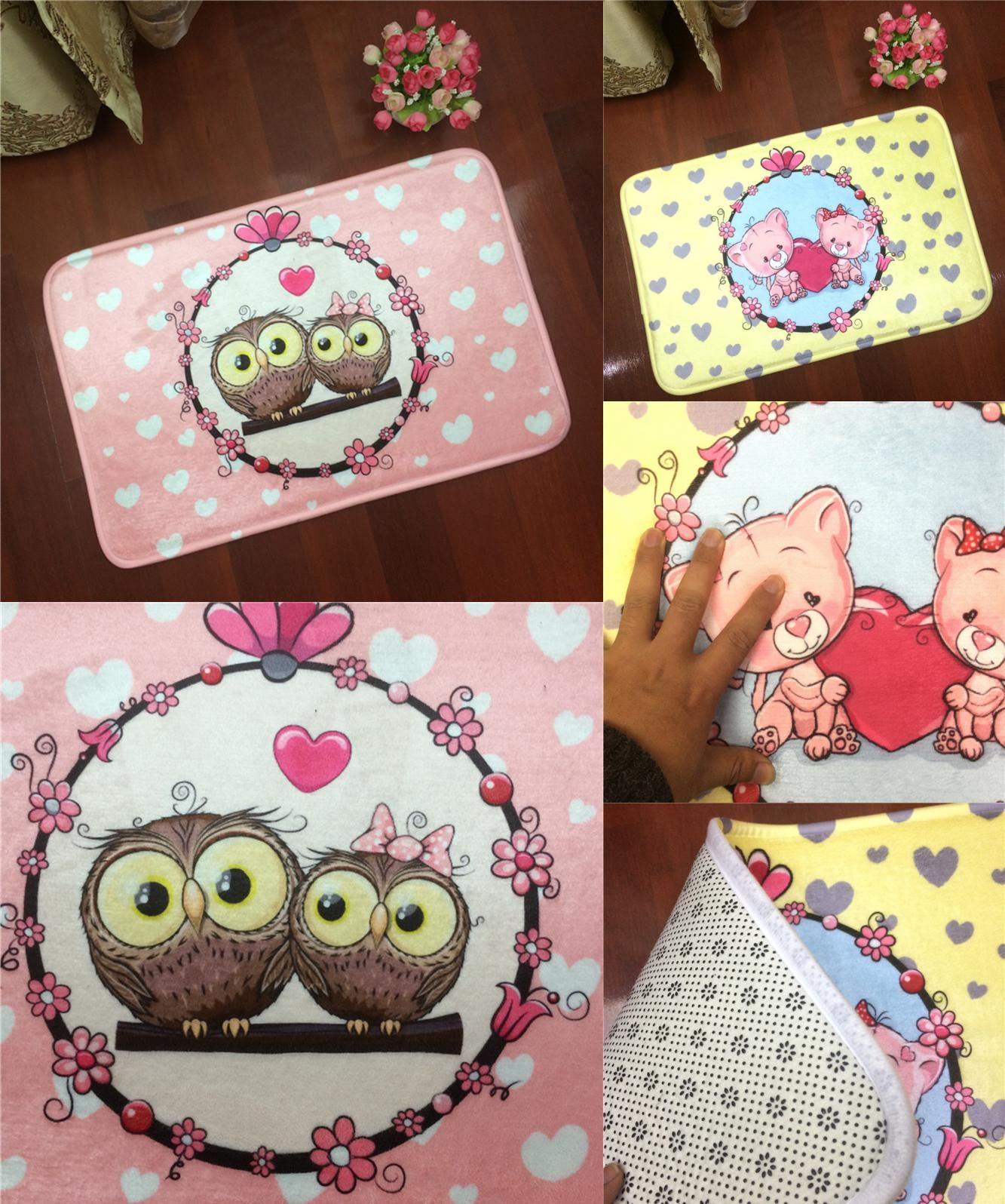 [Visit to Buy] Fashion Brand Cartoon  Owl Mat Living Room Bedroom Carpet Floor Mats A Bathing 40*60cm Size Home Decoration Non-slip Mats DT62 #Advertisement