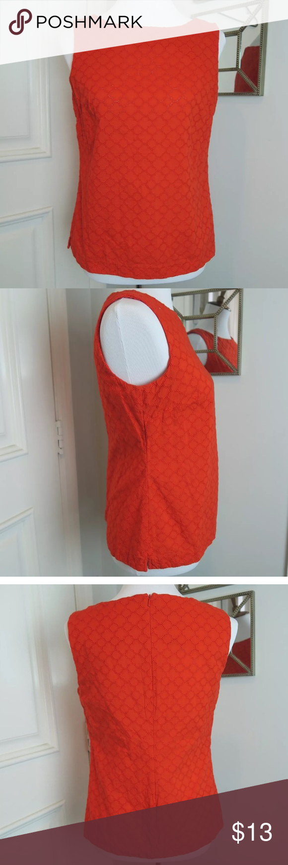 Talbots Sleeveless Top Beautiful and bright colored sleeveless top with concealed zipper closure on back. Perfect for the upcoming summer days. Talbots Tops