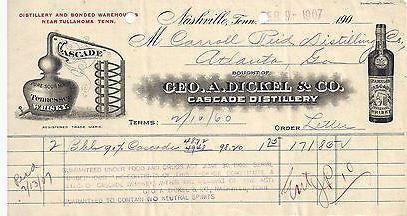1907 Geo Dickel & Co Cascade Distillery Nashville Tenn