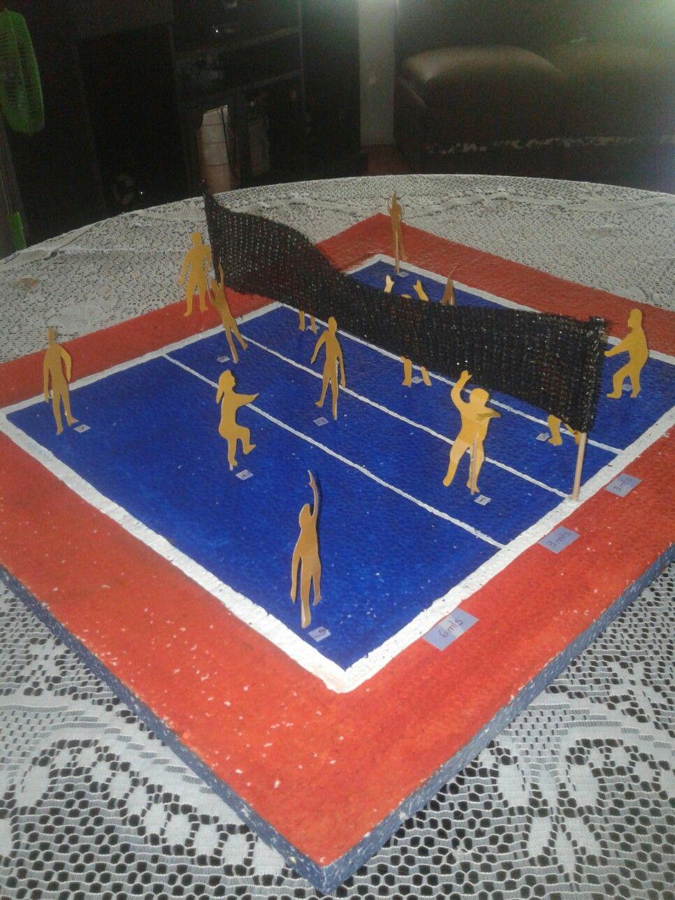 Maqueta Cancha Voleibol Biblioteca Cancha De Voleibol Maqueta