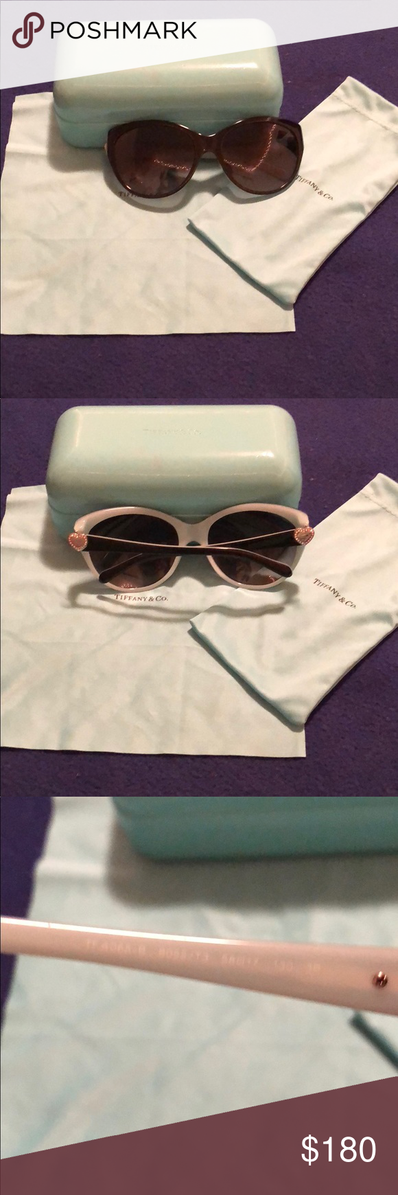 985f1f5a7edd Tiffany Sunglasses Tiffany CatEye Sunglass Style 4065B Black and Tiffany  Blue in Color Classic Tiffany Heart on Temples with Swarovski Crystals (all  still ...