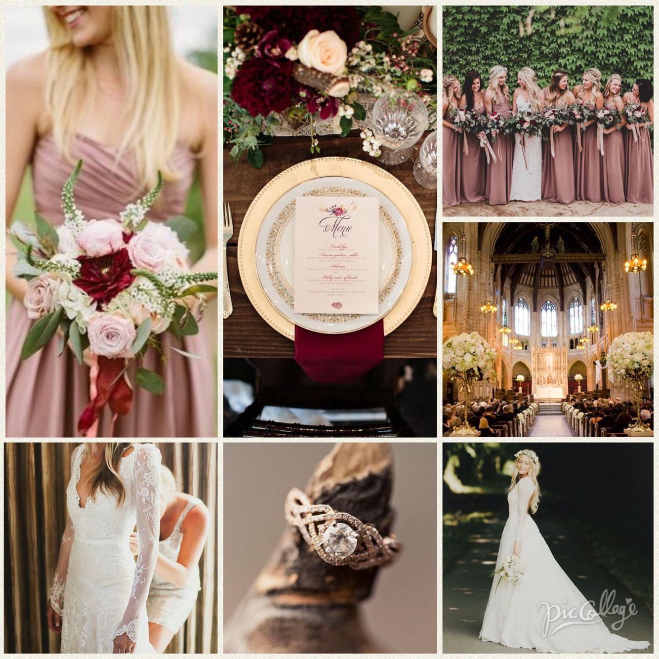 Rose Wedding Ideas: Wedding. Dusty Rose And Burgundy. In 2019