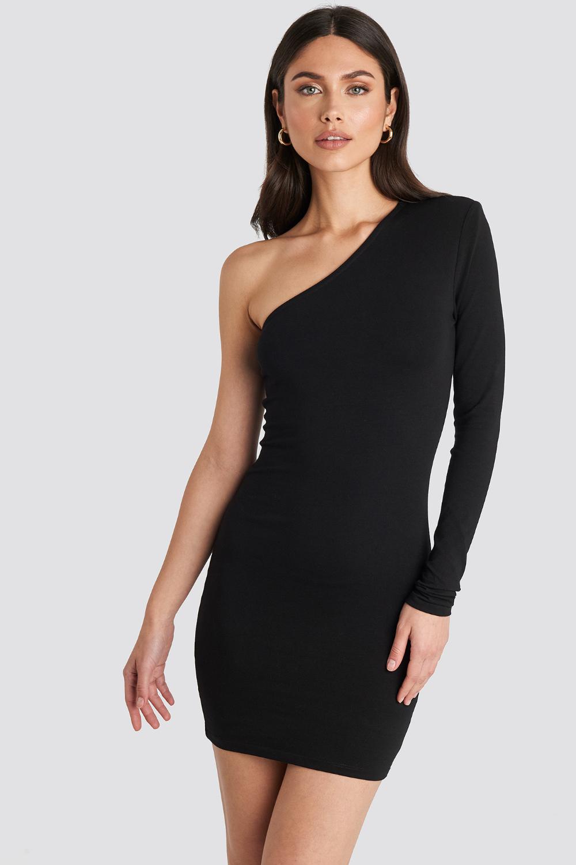 Padded One Shoulder Dress Black Dresses Fashion One Shoulder Dress [ 1500 x 1000 Pixel ]