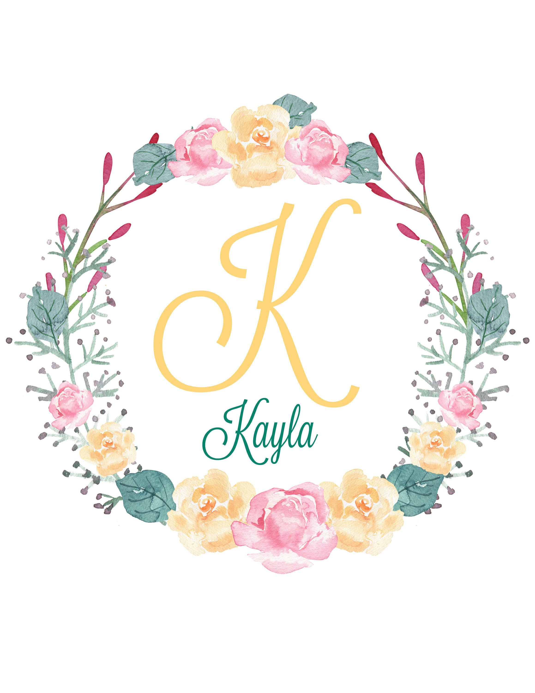 Nursery Decor Letter K Monogram with Name Kayla https