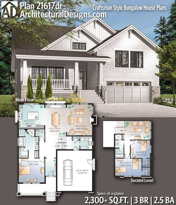 Architectural Designs Craftsman House Plan 21617dr Gives You 3 Bedrooms 2 5 Baths And 2 300 Sq Ft Re Craftsman House Plans House Plans Bungalow House Plans