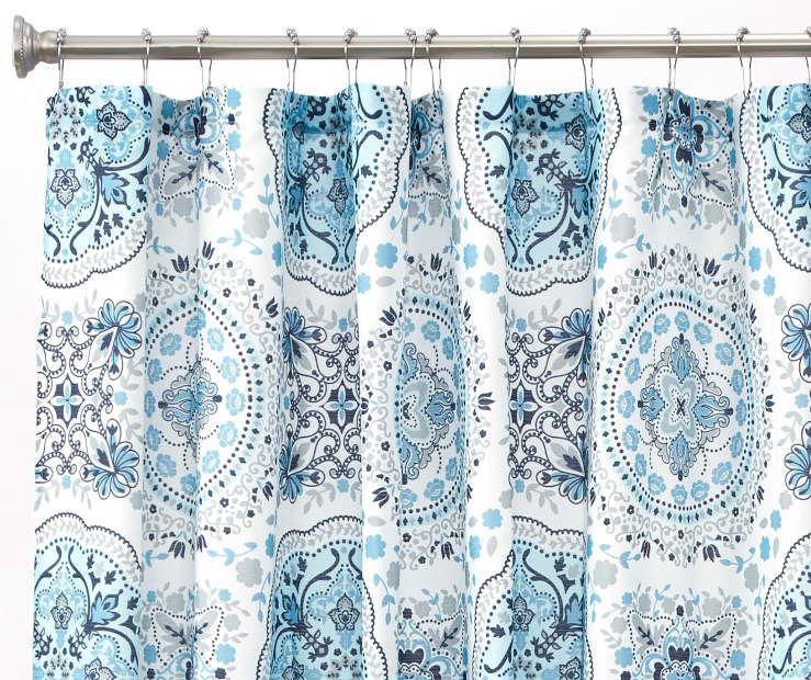 Aprima Caroline Blue Gray Medallion Fabric Shower Curtain 72 Big Lots Fabric Shower Curtains Blue Bathroom Decor Blue Shower Curtains