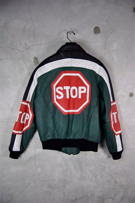 3c5085478 men's vintage 1990's STOP SiGN leather bomber by youngandukraine ...