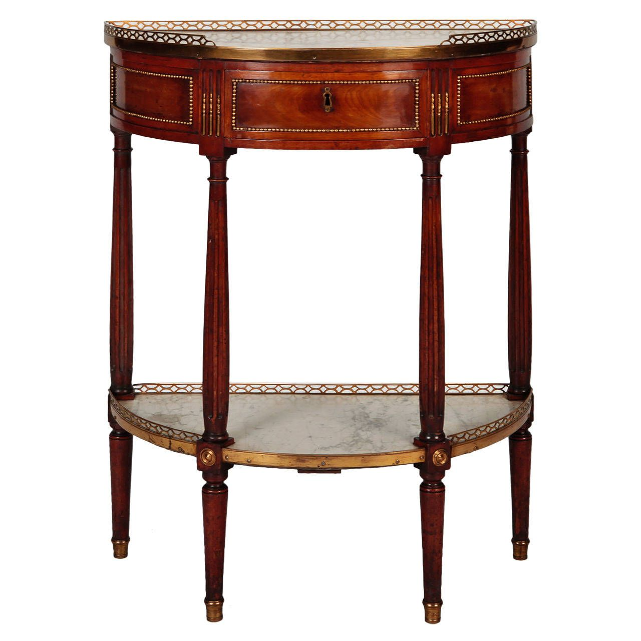 Louis Xvi Style Demilune Serving Table With Drawer And White Marble 1