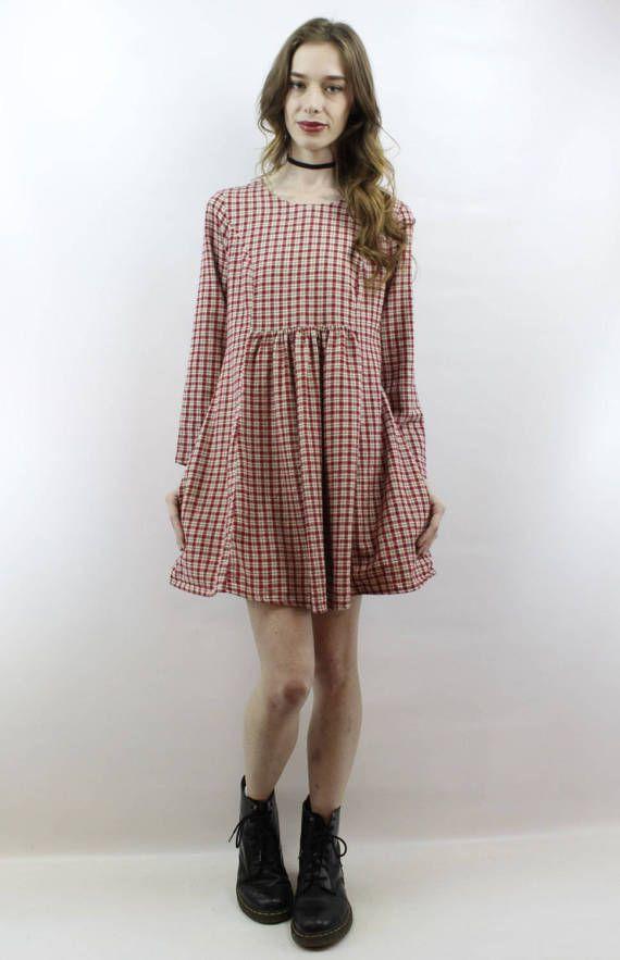 3a0418f6543 Vintage 90s Grunge Plaid Flannel Babydoll Dress