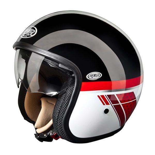 Premier Vintage St Helmet Black Red Helmet Buy Motorcycle Open Face Helmets