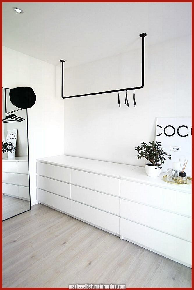 Beautiful open wardrobe in Scandinavian style, black and white - #black #schrank # ...