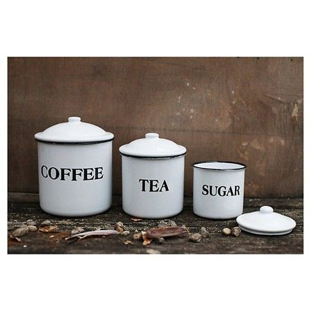 3r Studios Coffee Tea Sugar Metal Containers W Lid Set Of 3 In 2021 Decorative Kitchen Canisters Coffee Canister Enamel Canisters