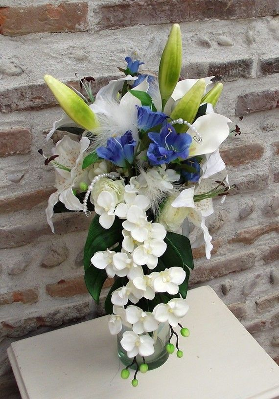 bouquet de mariee bleu et ivoire orchid es mariage pinterest weddings. Black Bedroom Furniture Sets. Home Design Ideas