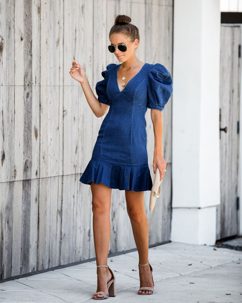 Chesney Denim Puff Sleeve Ruffle Dress Denim Ruffle Dress Ruffle Dress Outfit Ruffle Dress [ 1024 x 819 Pixel ]
