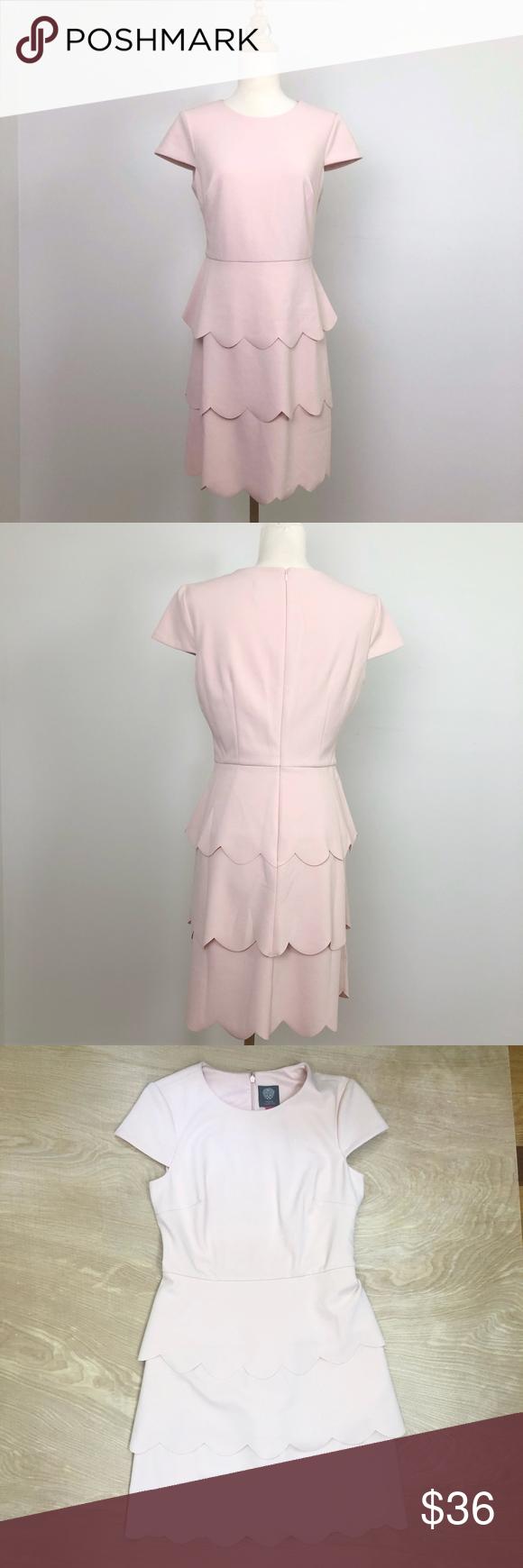 Vince Camuto Pink Dress W Scalloped Tiered Skirt Skirt Fashion Pink Dress Womens Dresses [ 1740 x 580 Pixel ]