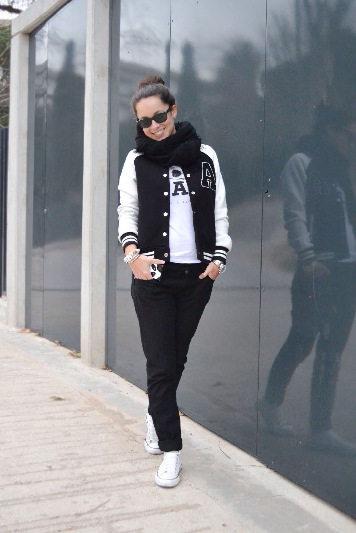 Black White Varsity Jacket Outfit Ideas From