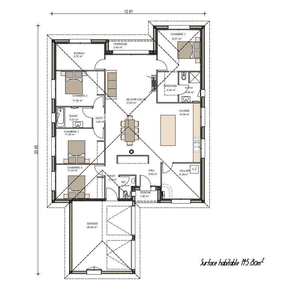 Plan de maison contemporaine maison plain pied maison for Plan maison moderne contemporaine
