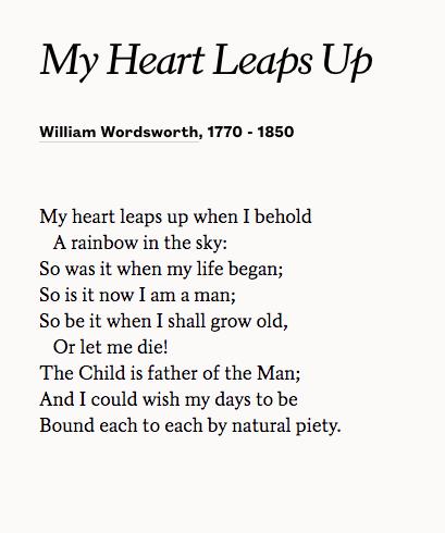 My Heart Leaps Up By William Wordsworth British Literature