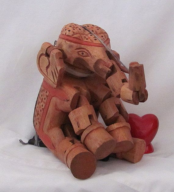 Vintage Hand Carved Wood Elephant Puppet Hand Painted by YourHeart, $45.50