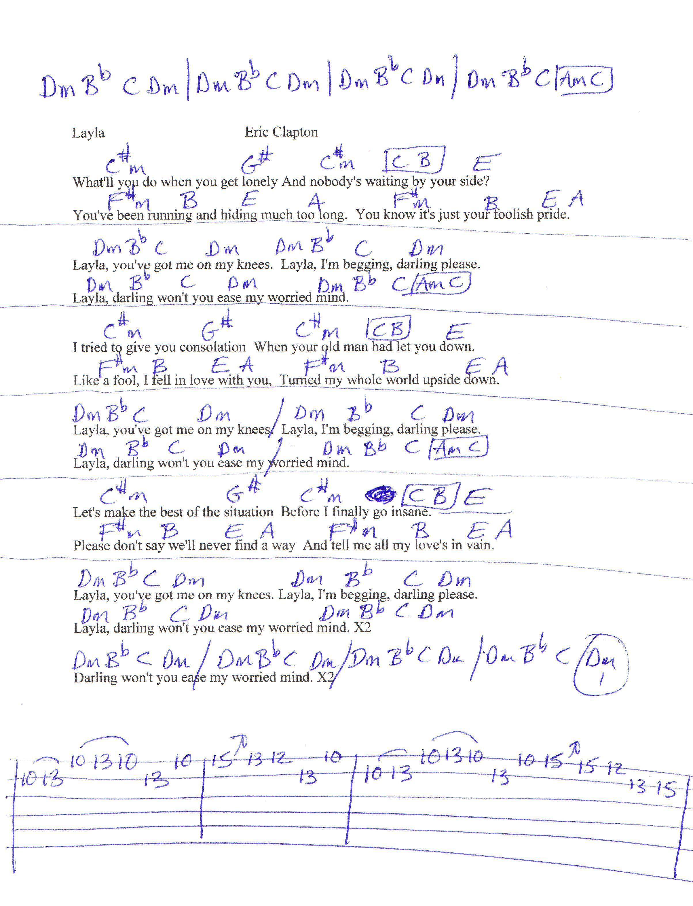 Layla Eric Clapton Guitar Chord Chart Guitar Chords Pinterest