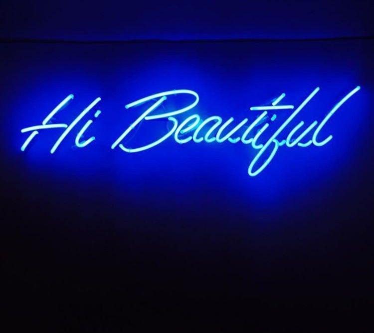 Beautiful Light Blue Bedrooms: Neon Wallpaper