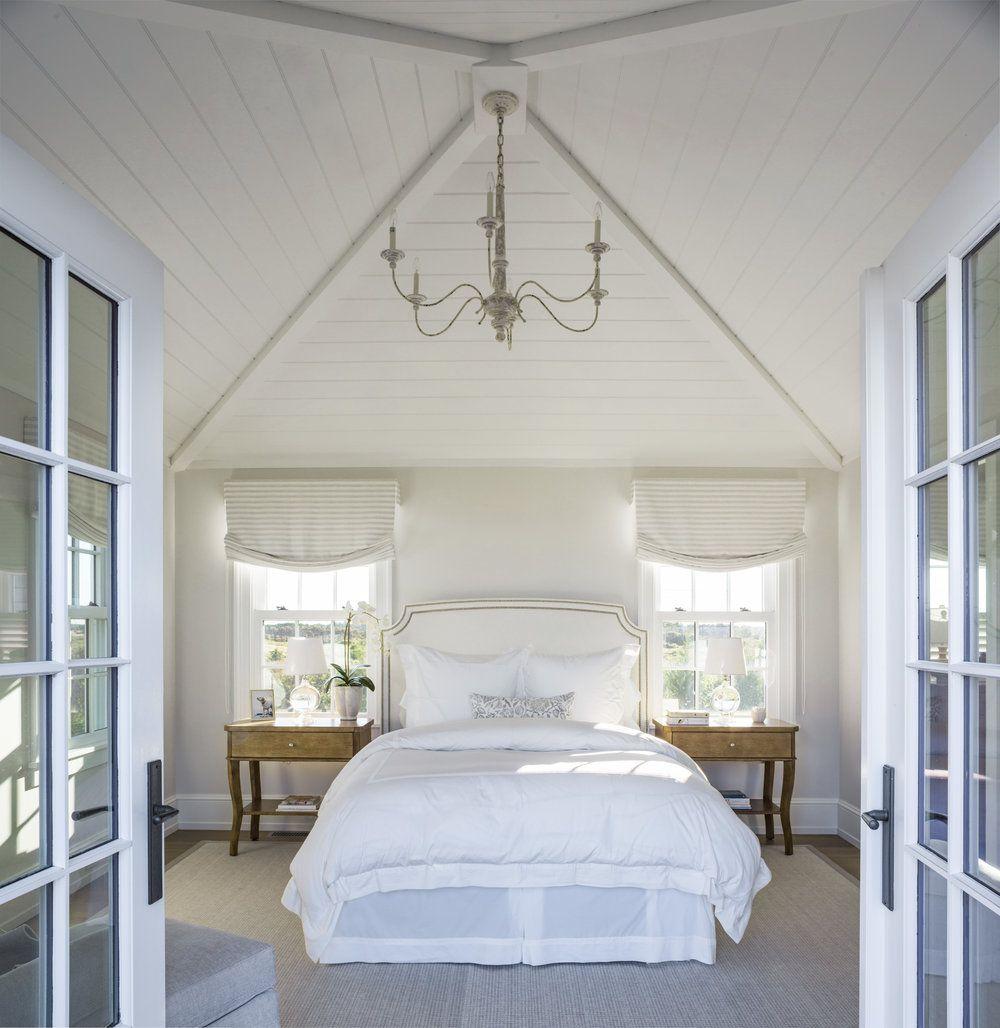 Nantucket Bedroom Design Ideas: French Doors + Upholstered Headboard