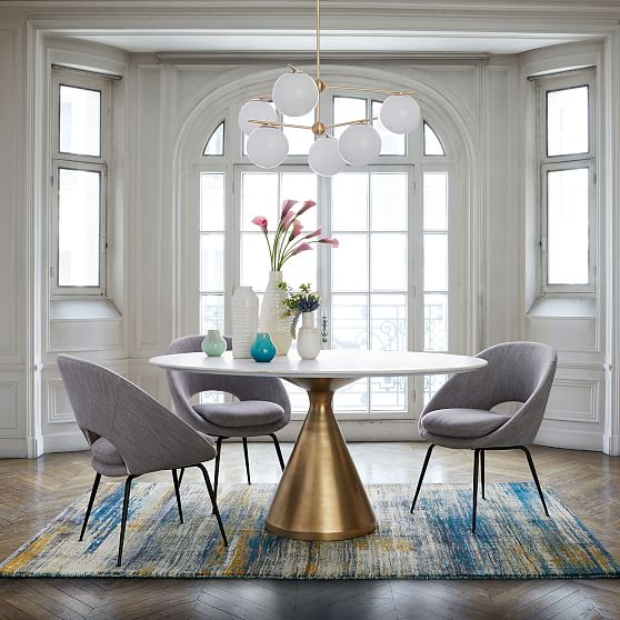 Silhouette Pedestal Round Dining Table White Marble Antique