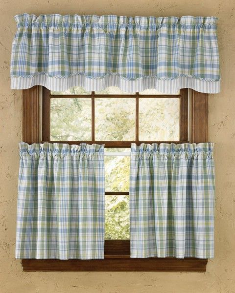 Blue And Yellow Plaid Valance Curtain Country Kitchen Curtains