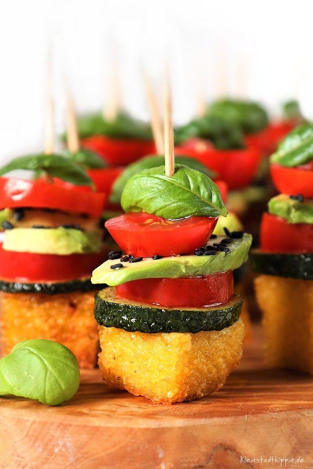 Polenta-Häppchen - Fingerfood - Antipasti - vegan von Kleinstadthippie #appetizersforparty