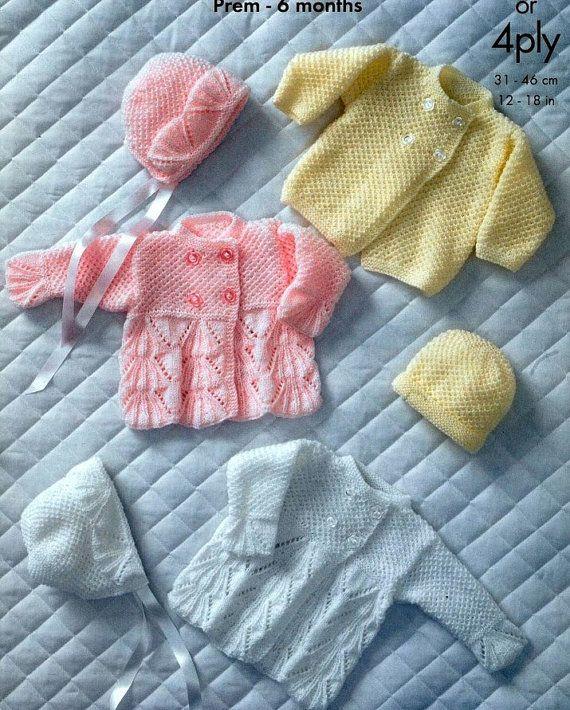 Tamaños de tejer patrón - bebé Bebe - Prem bebé 6 meses bebé ...