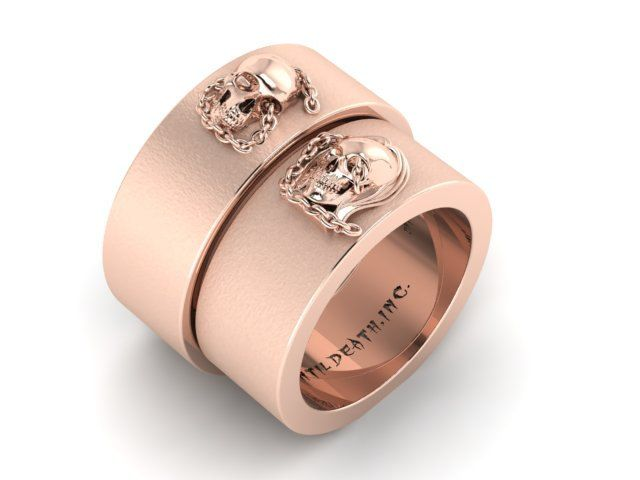 Skull Couple In Chains His and Hers Wedding Band bo 14k Rose Gold UDINC03