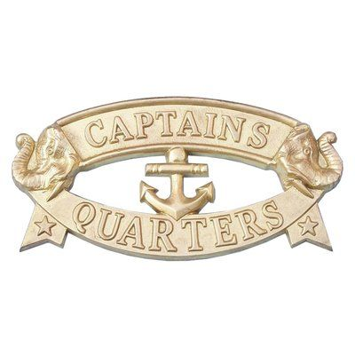 Photo of Handcrafted Nautical Decor 'Captain and Apos's Quarters Sign' Wall Decor Finish: Solid Brass