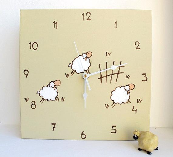 Children Wall clock- jumping lamb/ sheep tan clock -unique