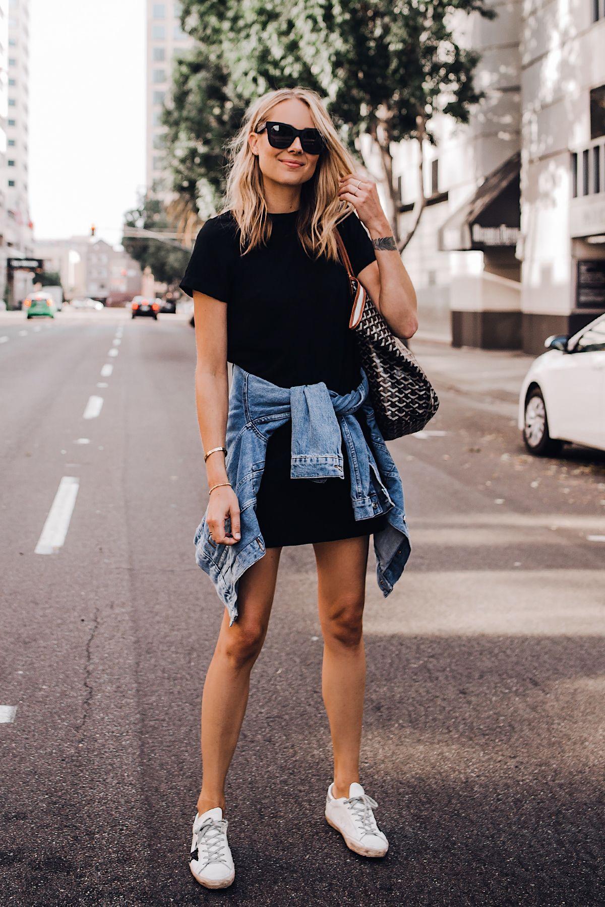 Blonde Woman Wearing Golden Goose Delux Brand Sneakers Short Sleeve Black Dress Denim Jacket Goyard Tote Black Fashion Jackson Fashion Black Short Sleeve Dress [ 1800 x 1200 Pixel ]