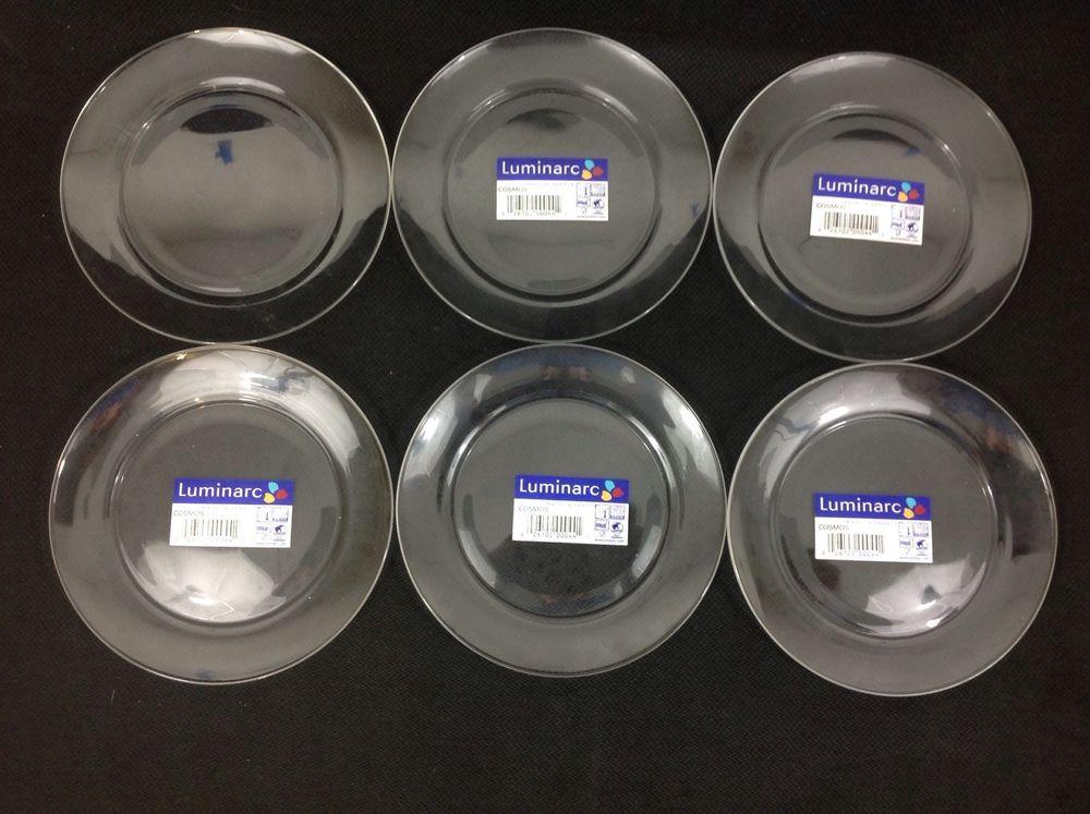 Luminarc Cristelle Cosmos Classique SIX 6 7/8 Inch Glass Cake Plates    #Luminarc